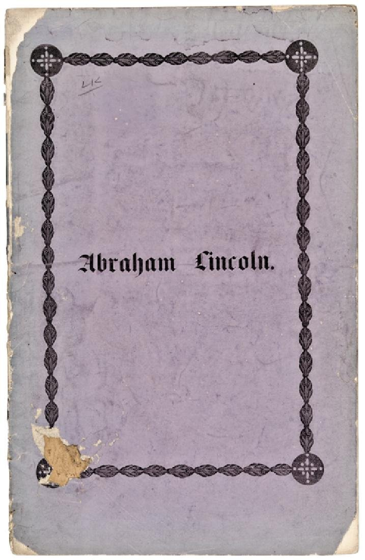 1865 Memorial Imprint Booklet, Abraham Lincoln