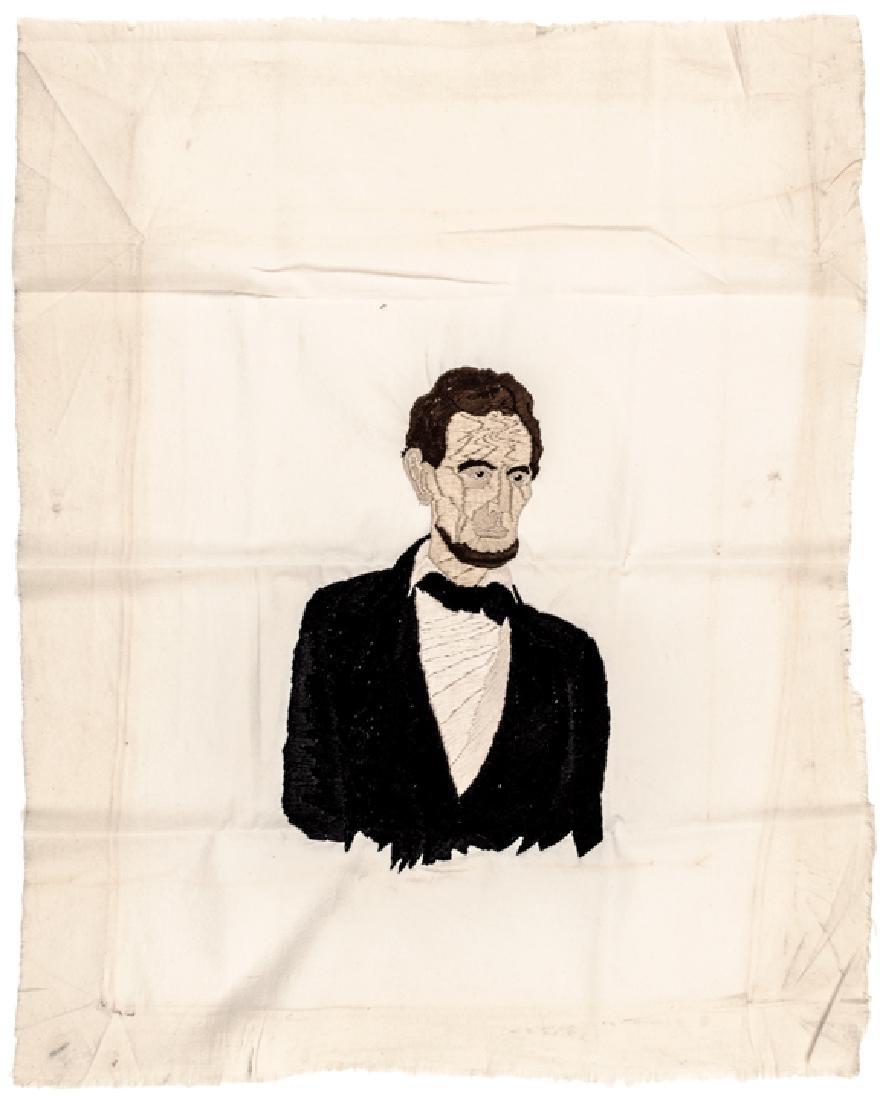 c1865 Lincoln Assassination Memorial Needlepoint