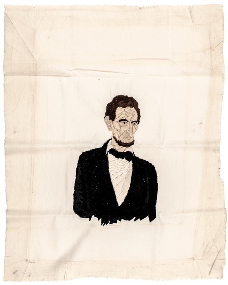 c1865 Lincoln Assassination Memorial Needlepoint