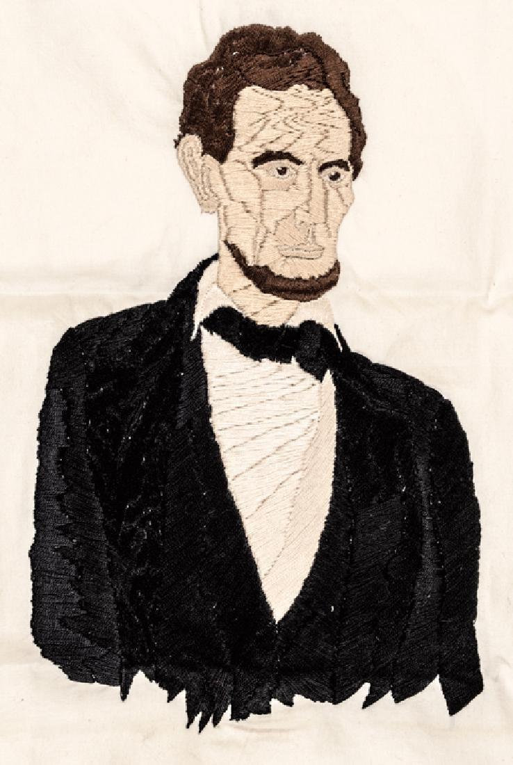 c1865 Lincoln Assassination Memorial Needlepoint - 3