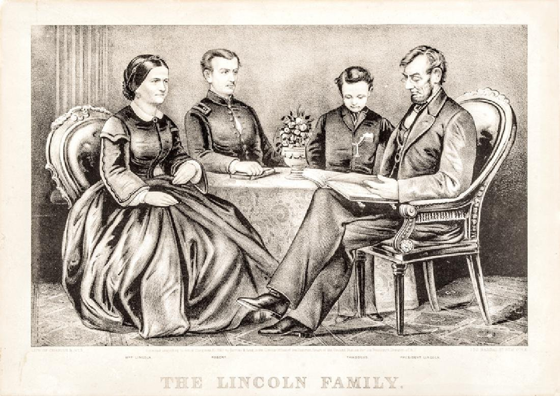 Currier + Ives Lithograph: The Lincoln Family