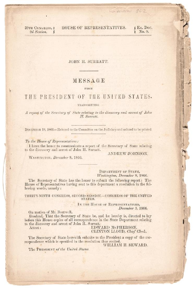 1866 Andrew Johnson Reports John Surratt's Arrest