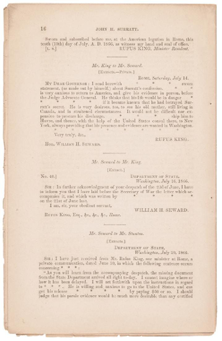 1866 Andrew Johnson Reports John Surratt's Arrest - 2