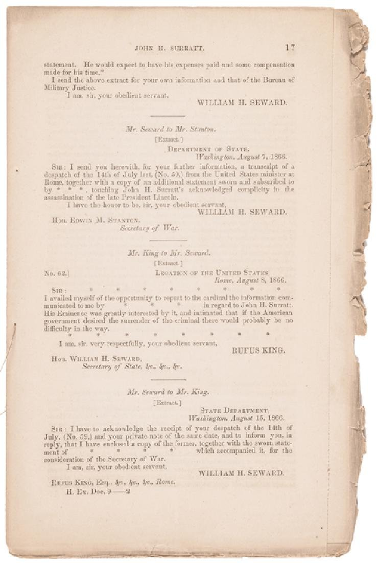 1866 Andrew Johnson Reports John Surratt's Arrest - 3