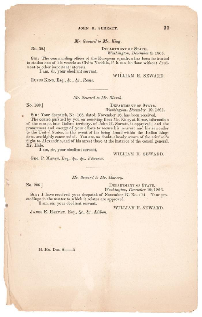 1866 Andrew Johnson Reports John Surratt's Arrest - 5