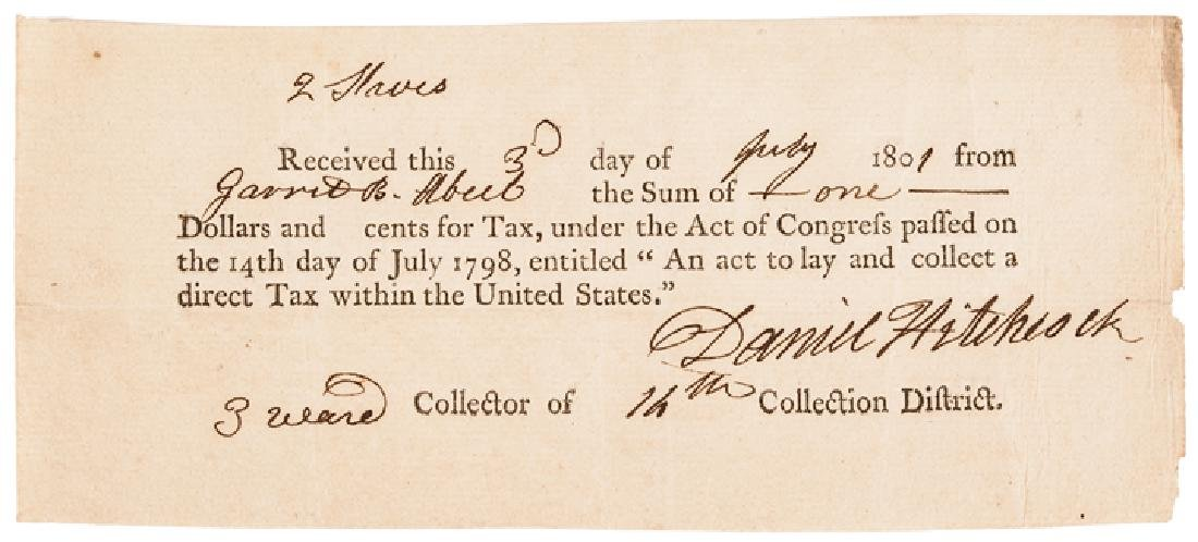 1798 Federal Direct Tax Document $1 for 2 Slaves!