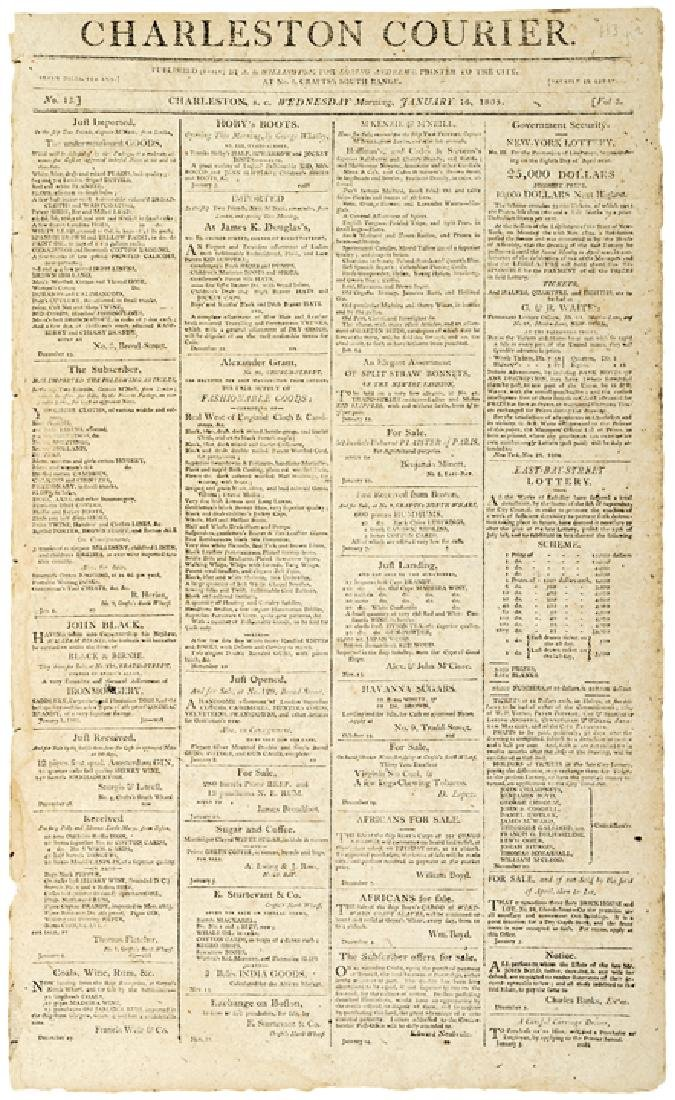 1805 CHARLESTON COURIER Ad For SLAVE TAGS