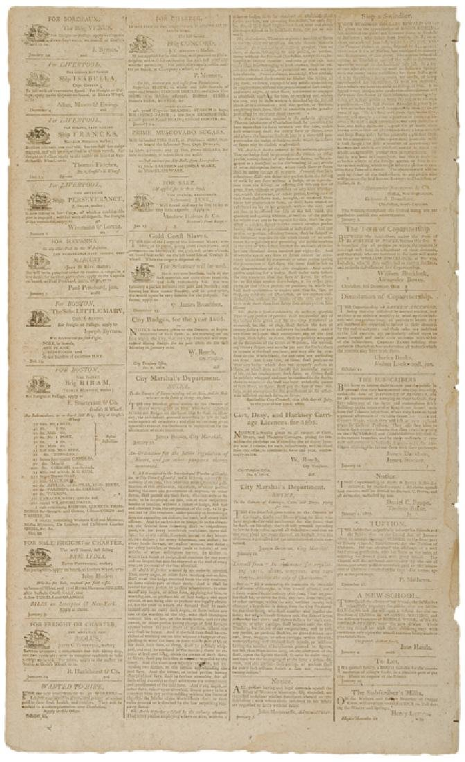 1805 CHARLESTON COURIER Ad For SLAVE TAGS - 2
