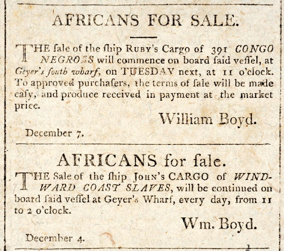 1805 CHARLESTON COURIER Ad For SLAVE TAGS - 4