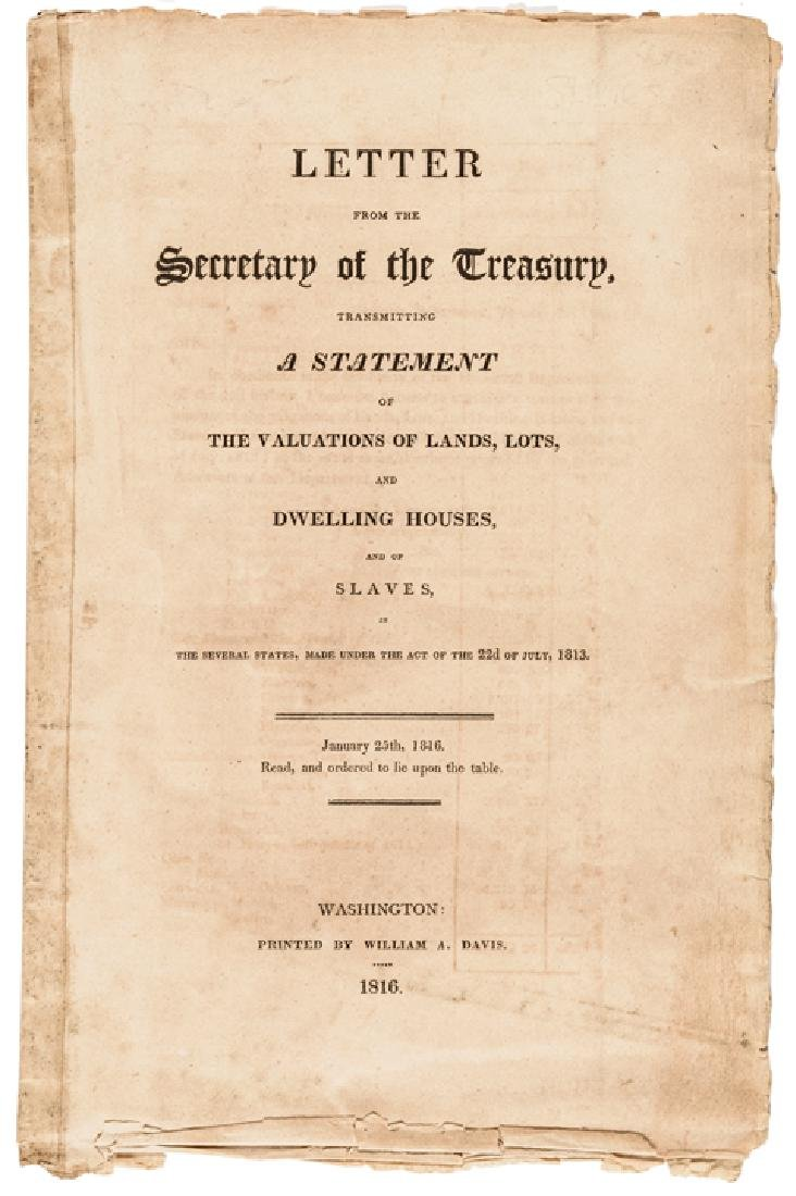 1816 US TREASURY Imprint Slave Value For Taxation