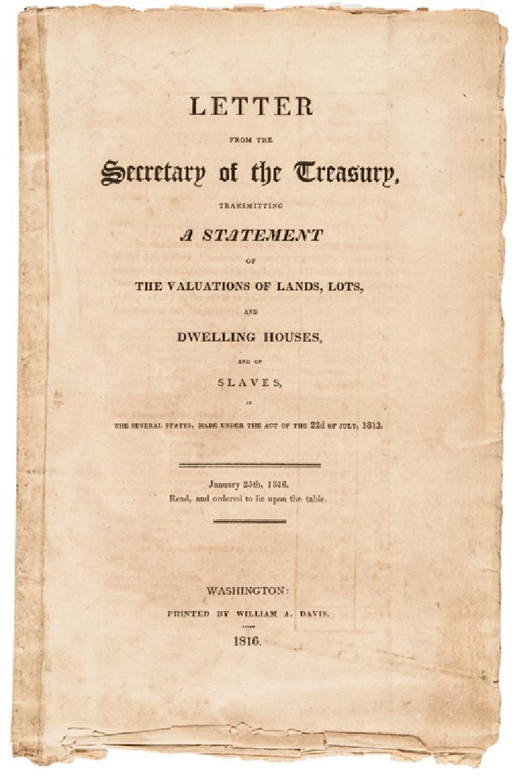 1816 US TREASURY Imprint Slave Value For Taxation