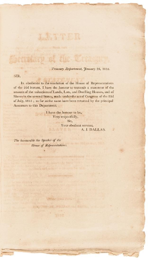 1816 US TREASURY Imprint Slave Value For Taxation - 2