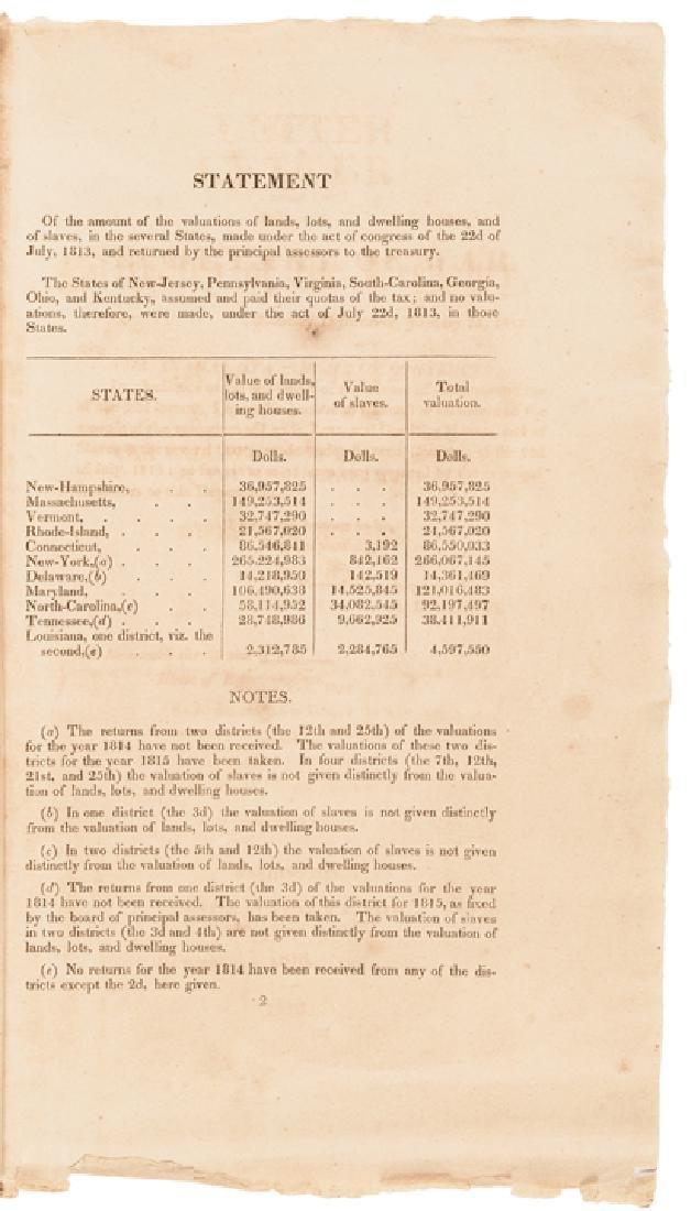 1816 US TREASURY Imprint Slave Value For Taxation - 3