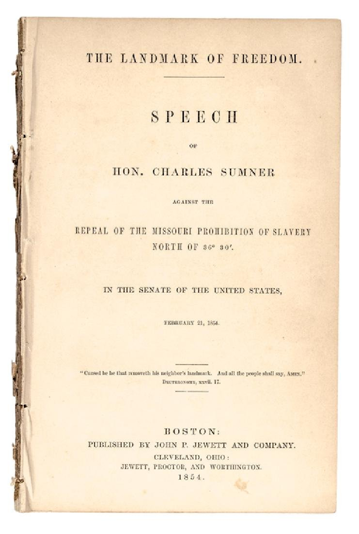 1854 Charles Sumner Anti-Slavery Freedom Imprint