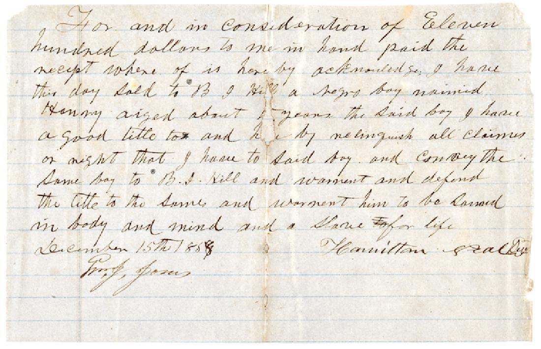 CSA Gen. Benjamin J. Hill Buys a Negro Slave Boy!