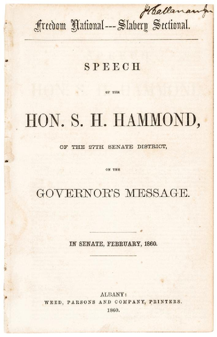 1860 Freedom National Slavery Sectional SPEECH
