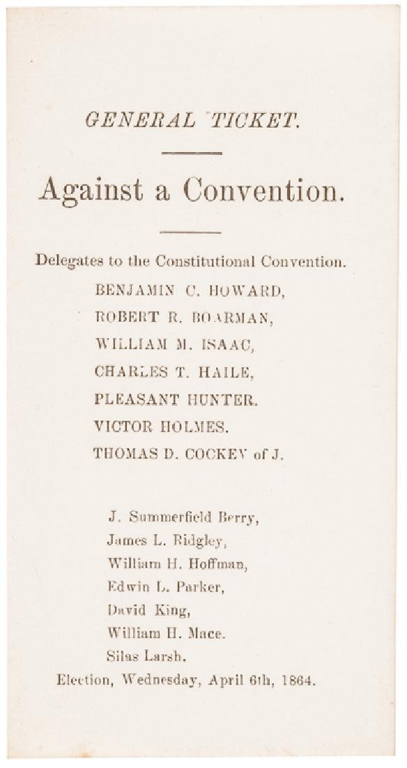 1864 MD Slavery Constitutional Convention Tickets - 4