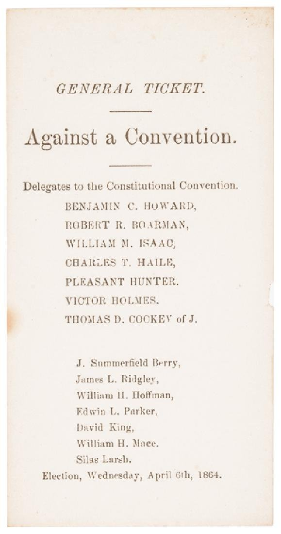 1864 MD Slavery Constitutional Convention Tickets - 5