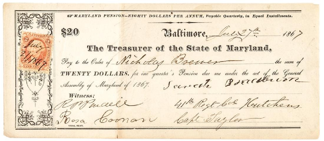 1867 Pension for Service in the MD Colored Troops