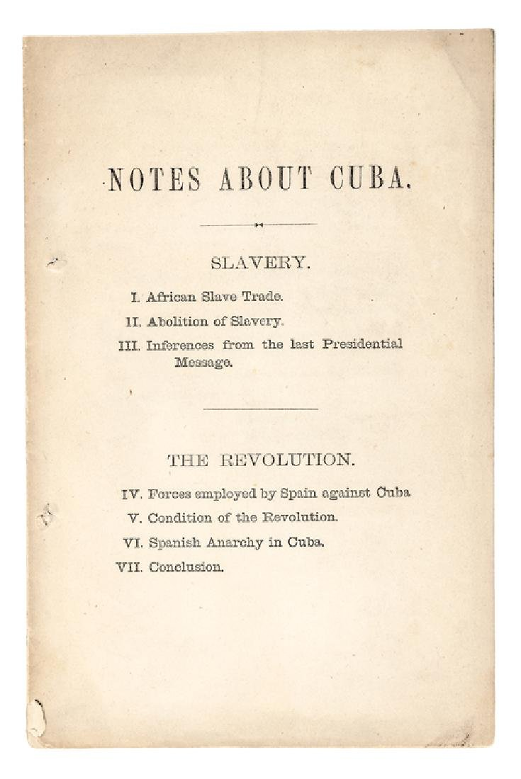 1872 Imprint, Notes About Cuba, Including SLAVERY