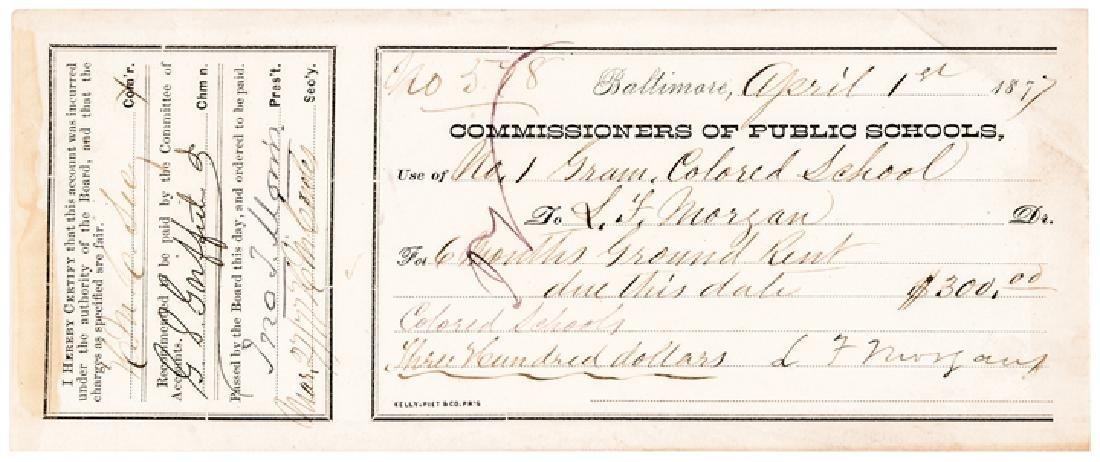 1877 Rev. L. Morgan Signed Colored School Reciept