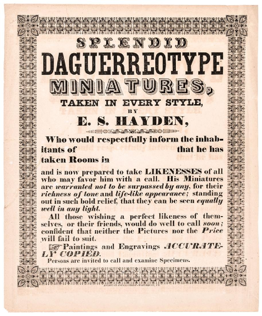 c 1850 Daguerreotypes Ad Broadside, Waterbury CT.