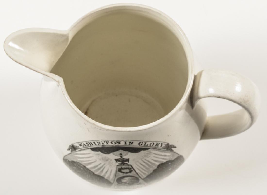 Washington Liverpool Creamware Memorial Pitcher - 5