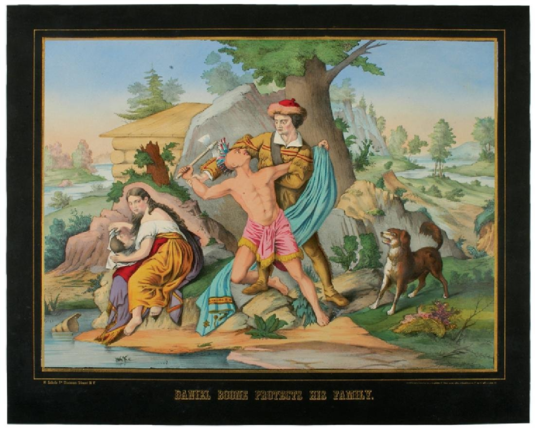 1874 Color Litho DANIEL BOONE PROTECTS HIS FAMILY