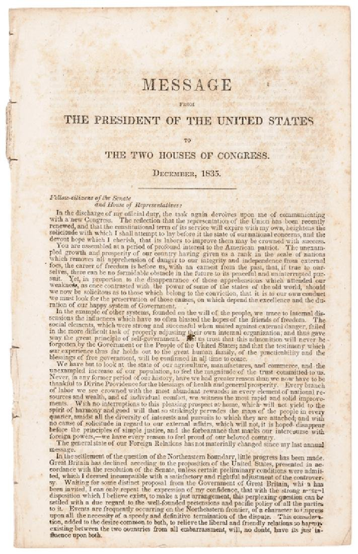 Andrew Jackson's 1835 State of the Union Address