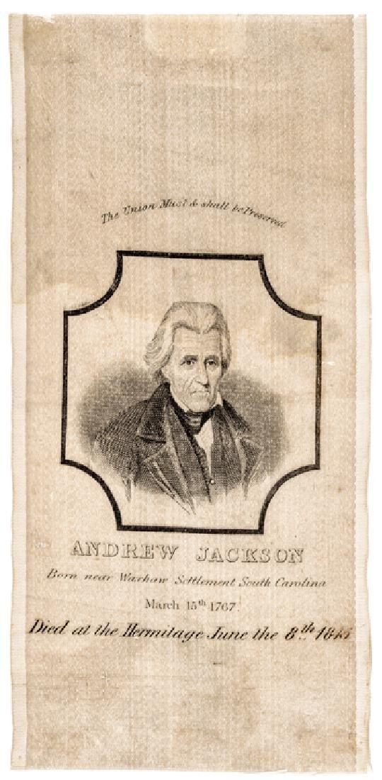 c. 1845 Rare Andrew Jackson Silk Mourning Ribbon