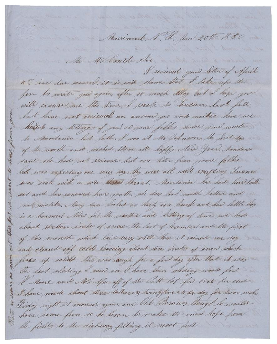 1850 Letter Critical of President Zachary Taylor