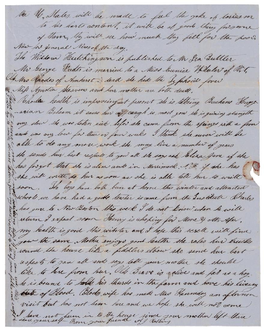 1850 Letter Critical of President Zachary Taylor - 3