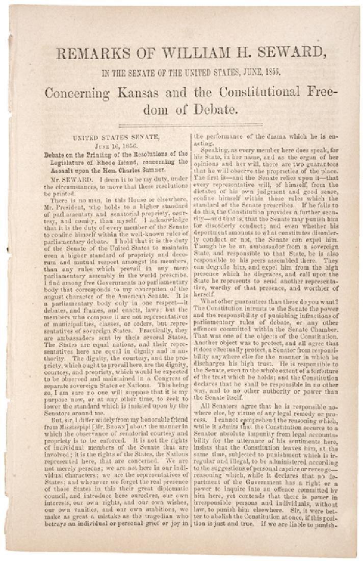 1856, REMARKS OF WILLIAM H. SEWARD... KANSAS