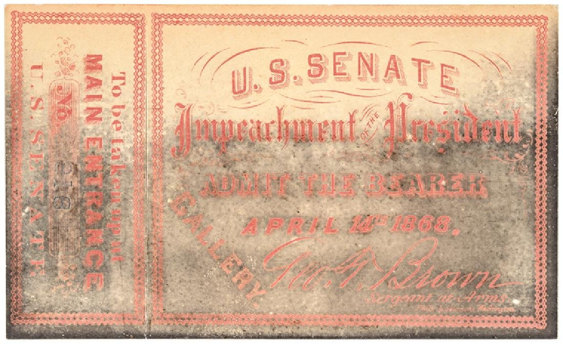 3 - Impeachment Trial of Andrew Johnson Tickets