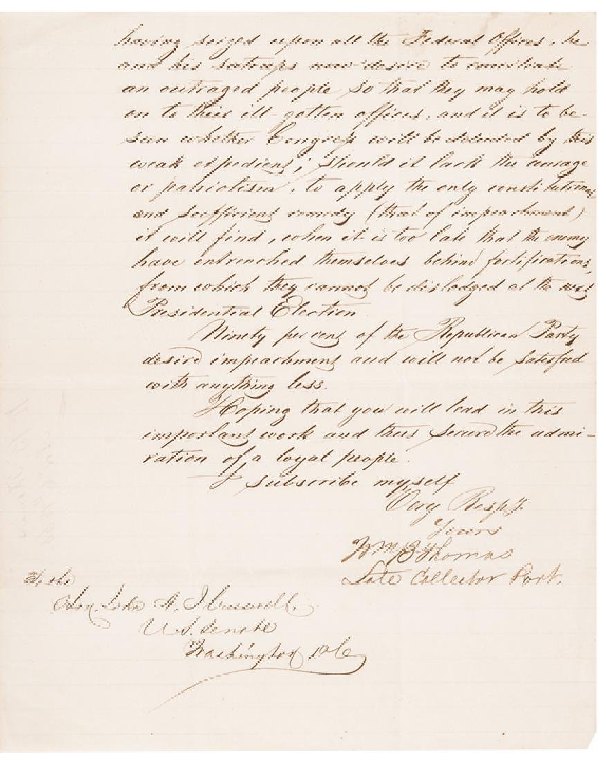 1868 President Andrew Johnson Impeachment 6 Items - 2