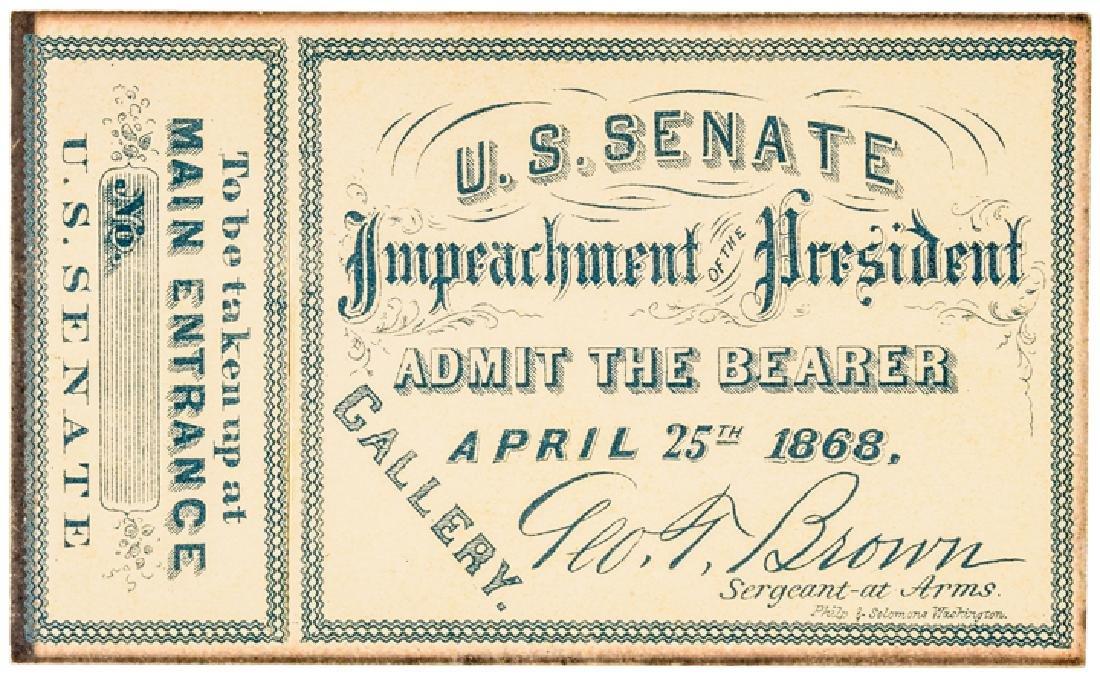 1868 President Andrew Johnson Impeachment 6 Items - 6