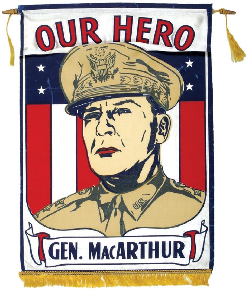c. 1942 Douglas MacArthur Our Hero Textile Banner