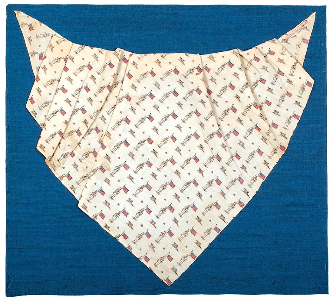 c. 1888 Soldier & American Flag Printed Bandanna