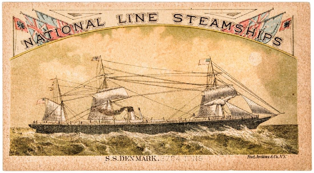c. 1860 Hand-Colored Steamship Advertising Card