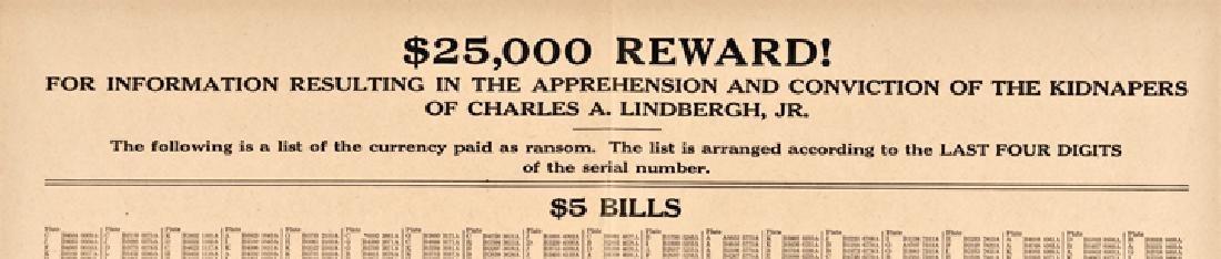 1932 Lindbergh Baby Kidnapping $25,000 Reward - 3