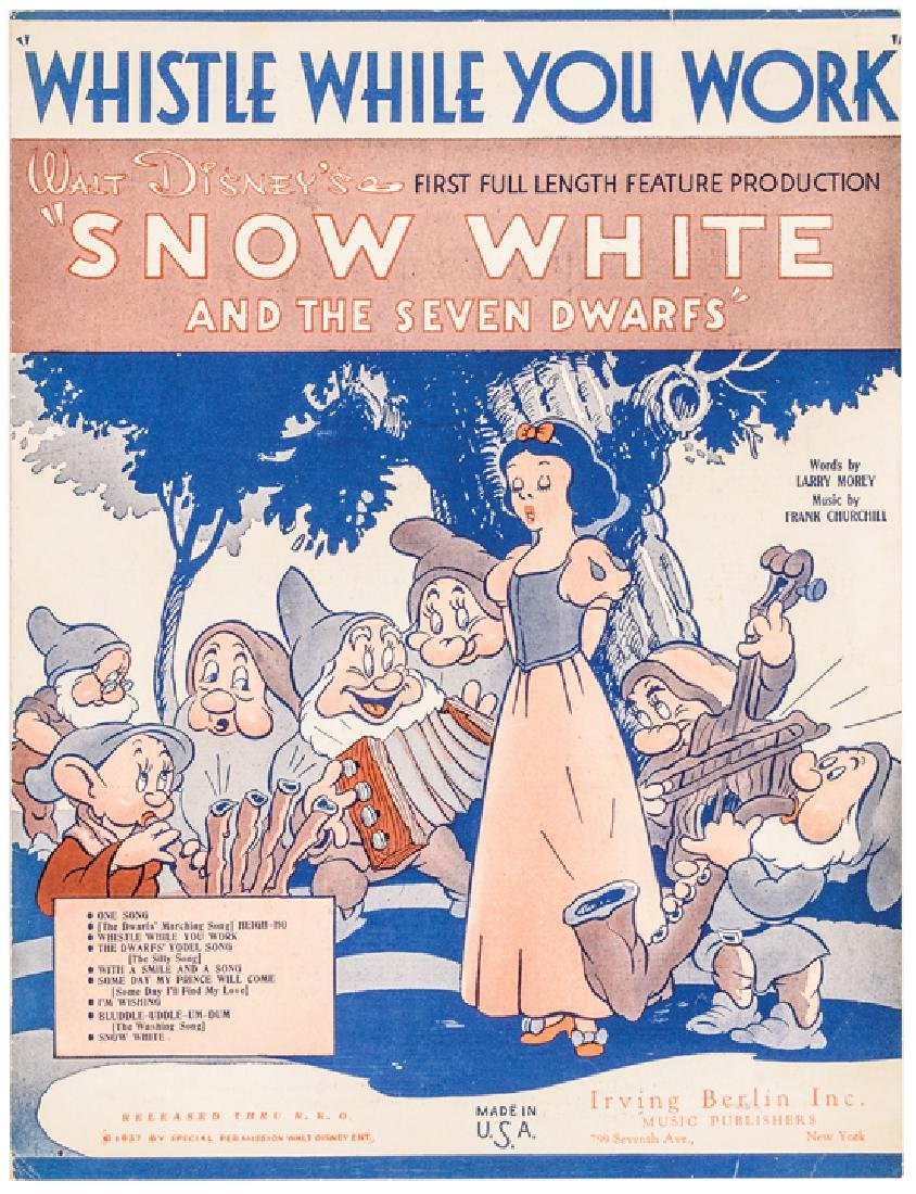 1937 Disney Snow White + The 7 Dwarfs Sheet Music