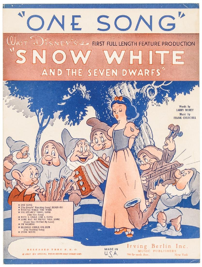 1937 Disney Snow White + The 7 Dwarfs Sheet Music - 7