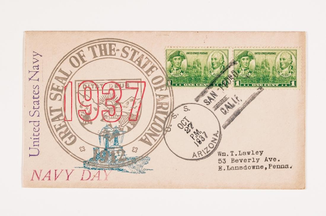 WWII 50 US Navy Postal Covers Onboard a Ship Sunk