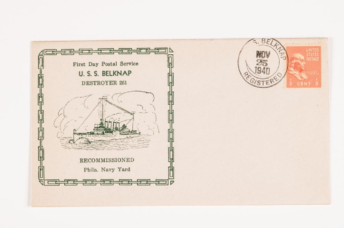 WWII 50 US Navy Postal Covers Onboard a Ship Sunk - 4