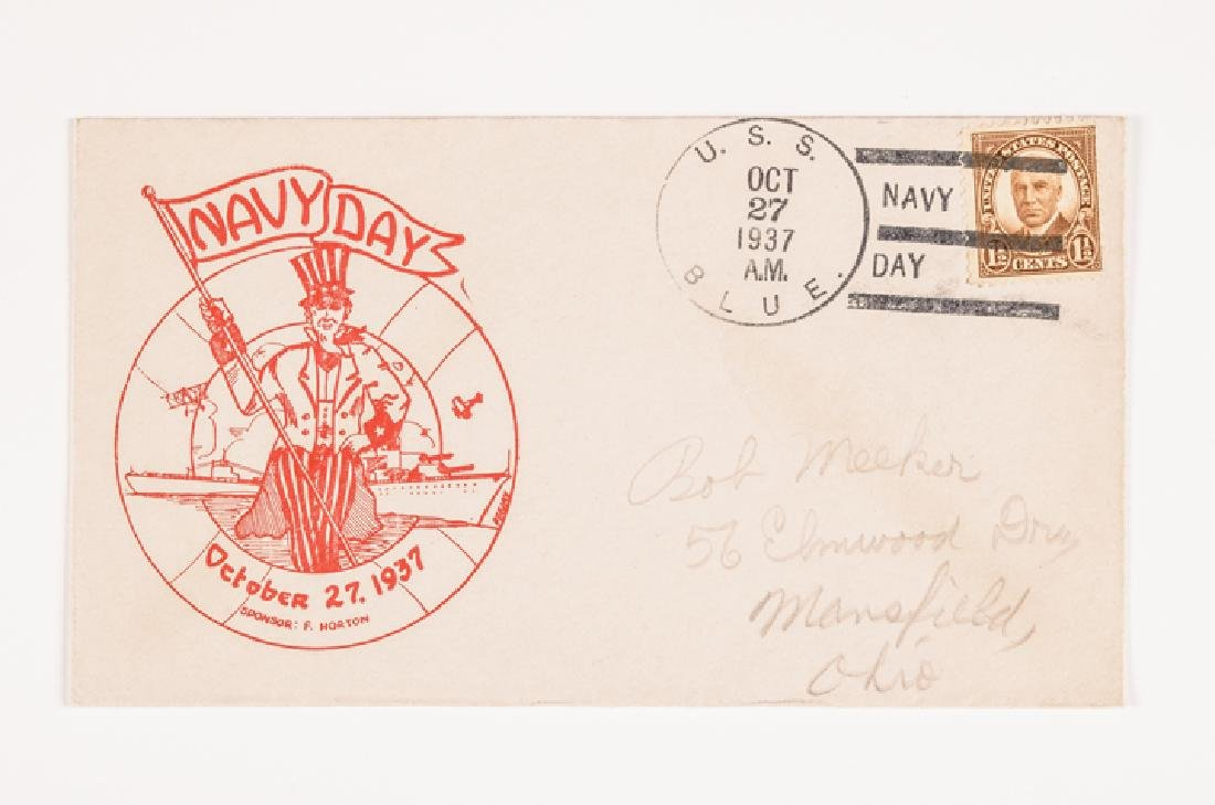WWII 50 US Navy Postal Covers Onboard a Ship Sunk - 7
