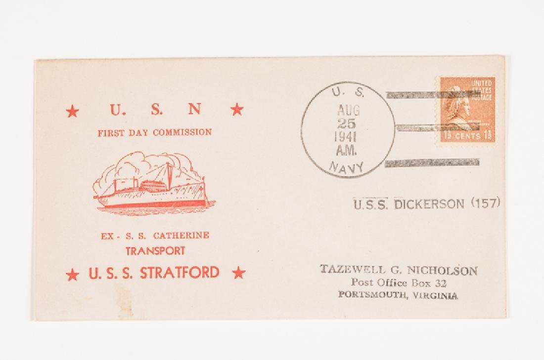 WWII 50 US Navy Postal Covers Onboard a Ship Sunk - 8