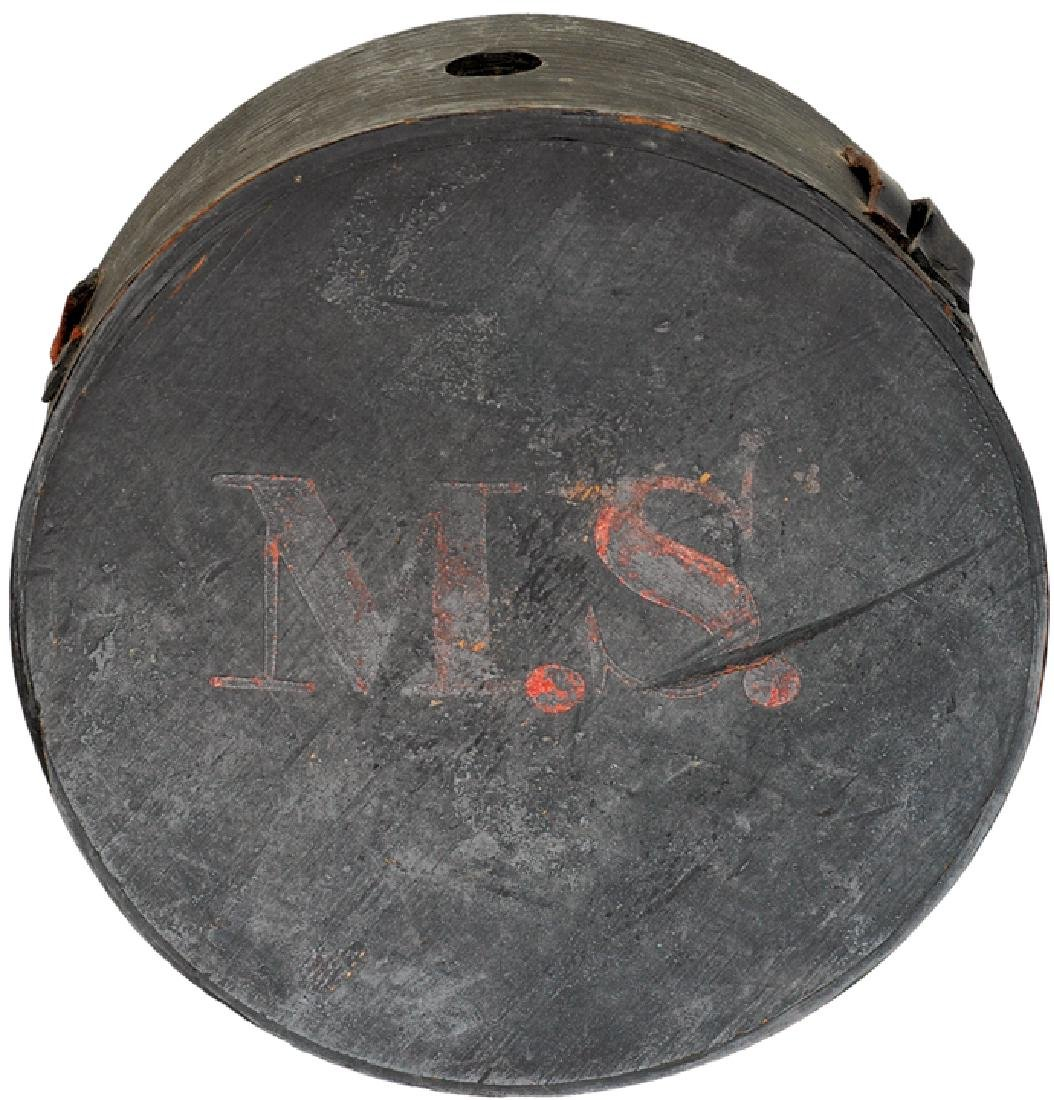 c 1820 Early Militia Wooden Canteen, Painted M.S.
