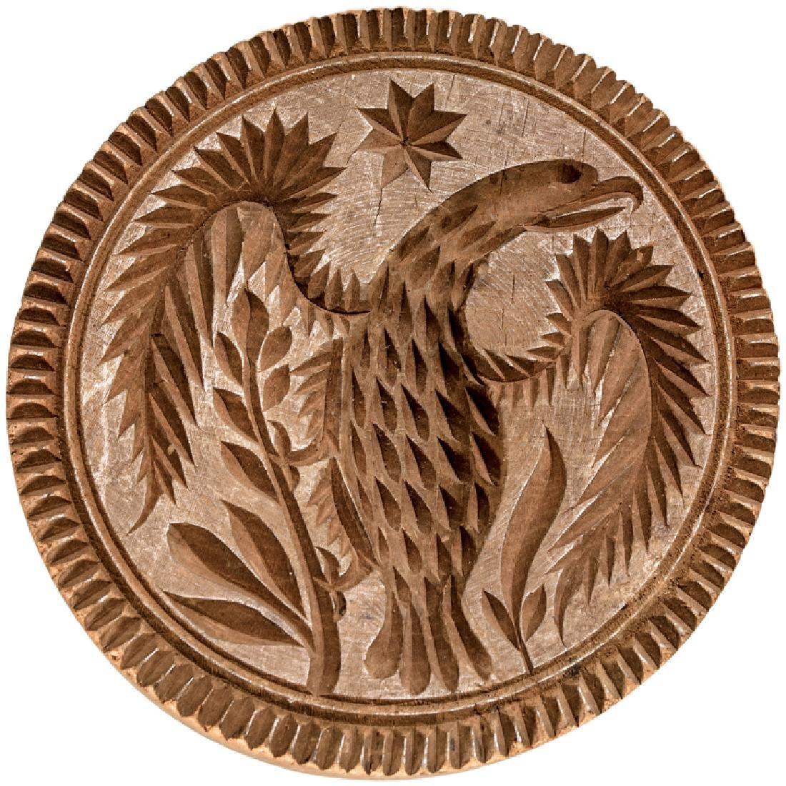 Early Hand-Carved Federal Eagle Butter Print Mold - 2