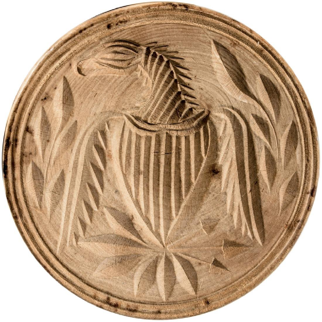Hand-carved Wooden American Butter Print Mold - 2