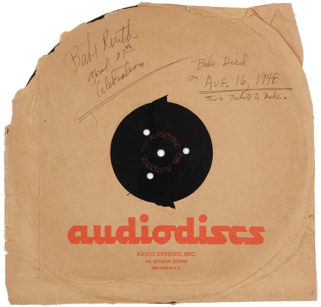 1948 Audiodisc LP Vinyl Tribute to BABE RUTH - 2